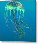 Glow Green Jellyfish Metal Print