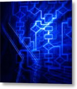 Glowing Blue Flowchart Metal Print