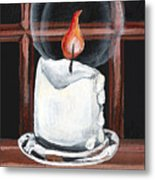 Glowing Candle In Window Metal Print