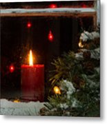 Glowing Christmas Candle In Frosted Home Window Metal Print