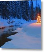Glowing Christmas Tree By Mountain Metal Print by Carson Ganci