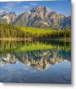 Glowing Morning At Pyramid Mountain Jasper Alberta Metal Print