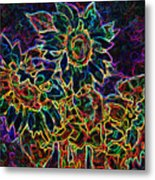 Glowing Sunflowers Metal Print