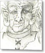 Gnarlsworth Gnome - Black And White Metal Print
