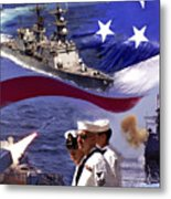 Go Navy Collage Metal Print
