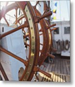 Steering Wheel Of Big Sailing Ship Metal Print
