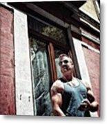 Go Vegan!  #man #beef #muscle #gym Metal Print