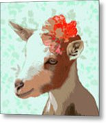 Goat With Flower Metal Print
