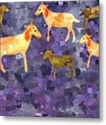 Goats In The Field Metal Print