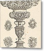 Goblet, Rim Decorated With Masque And Bouquet Of Fruit Metal Print