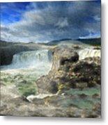 Godafoss Waterfall Iceland Metal Print