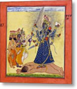 Goddess Bhadrakali Worshipped By The Gods. From A Tantric Devi Series Metal Print