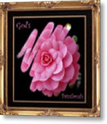 God's Paintbrush With Gold Frame Metal Print