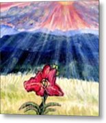 God's Ray's Shining On A Red Lily Flower In The Spring Metal Print