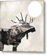 Going Wild Moose Metal Print
