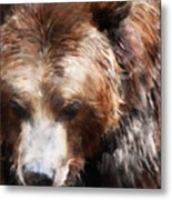 Bear // Gold Metal Print
