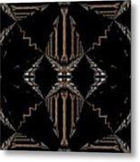 Gold And Black With Silver Design Abstract Metal Print