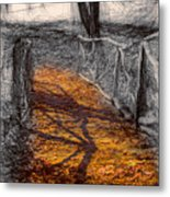 Gold And Orange Path Metal Print