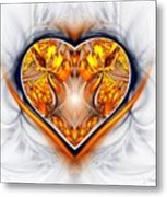 Gold And Sapphire Heart  Metal Print
