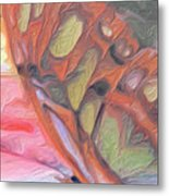 Gold Butterfly Paintng Abstract Metal Print