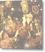 Gold Christmas Tree Decorations Metal Print