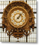 Gold Clock Paris France Metal Print