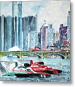 Gold Cup Race On Detroit River Metal Print