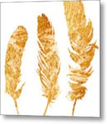 Gold Feathers Watercolor Painting Metal Print