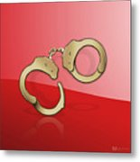 Gold Handcuffs On Red Metal Print