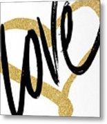 Gold Heart Black Script Love Metal Print