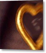 Gold Heart Mirror Metal Print