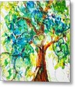 Gold Heart Valentine Tree Watercolor N Ink Metal Print