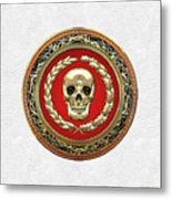 Gold Human Skull Over White Leather  Metal Print