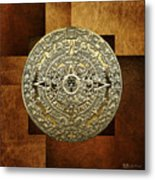 Gold Mayan-aztec Calendar On Brown Leather Metal Print