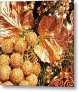 Gold Ornaments Holiday Card Metal Print