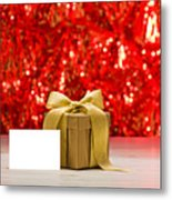 Gold Present With Place Card  Metal Print