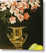 Gold Vase With Fruit Metal Print