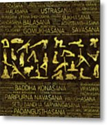 Gold Yoga Asanas / Poses Sanskrit Word Art  Metal Print