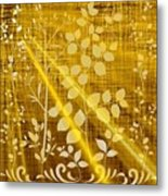 Golden And White Leaves Metal Print