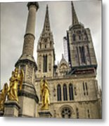 Golden Angel Statues In Front Of The Cathedral Metal Print