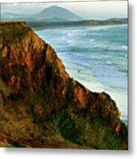 Golden Beach Cliff Side  Painterly Metal Print