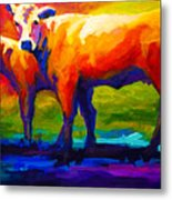 Golden Beauty - Cow And Calf Metal Print