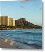 Golden Bliss On The Beach - Waikiki And Diamond Head Volcano Metal Print