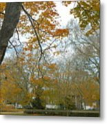 Golden Bus Stop Late Autumn Metal Print