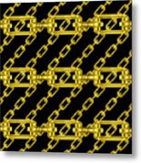 Golden Chains With Black Background Seamless Texture Metal Print