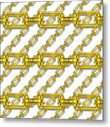 Golden Chains With White Background Seamless Texture Metal Print