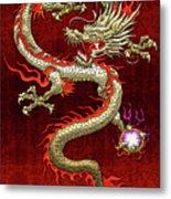 Golden Chinese Dragon Fucanglong On Red Silk Metal Print