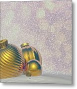 Golden Christmas Balls - 3d Render Metal Print