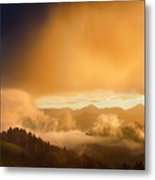 Golden Clouds And Fog At Sunrise In The Mountains Of Kamnik Savi Metal Print