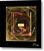 Golden Cube Metal Print